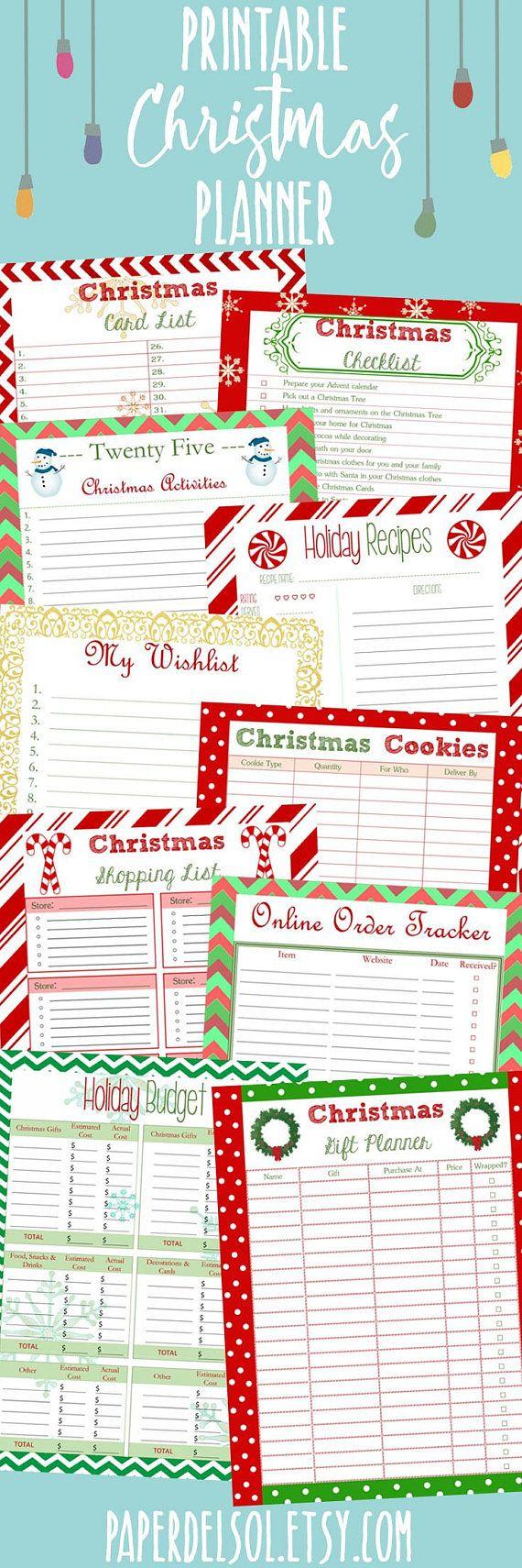 2017 Christmas Planner Printable, Instant Download Christmas ...