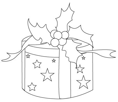 Christmas present drawing to color | Ornament patterns ...