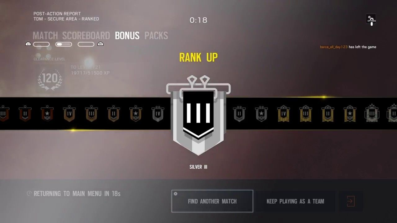 R6: Achieved Silver III Rank* (as of 3/22/2018) | Tom Clancy's