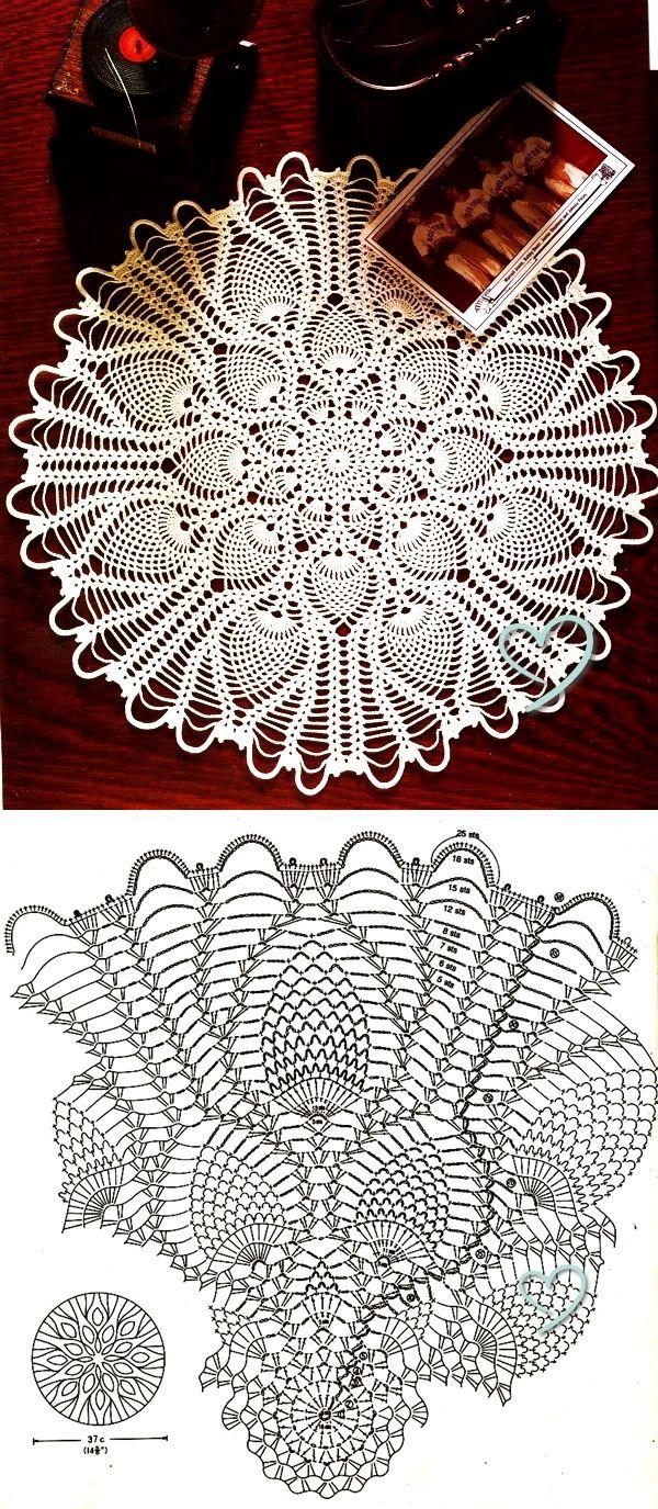 Pineapple Lace#7 | Dmc crochet | Pinterest | Deckchen, Häkeln und ...