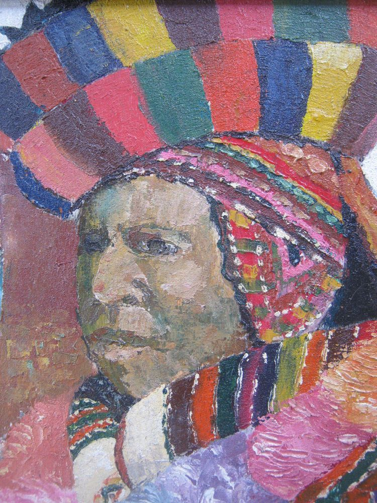 Hand Painted Peruvian Indian Wall Art Oil Painting 19 x 16 unsigned ...
