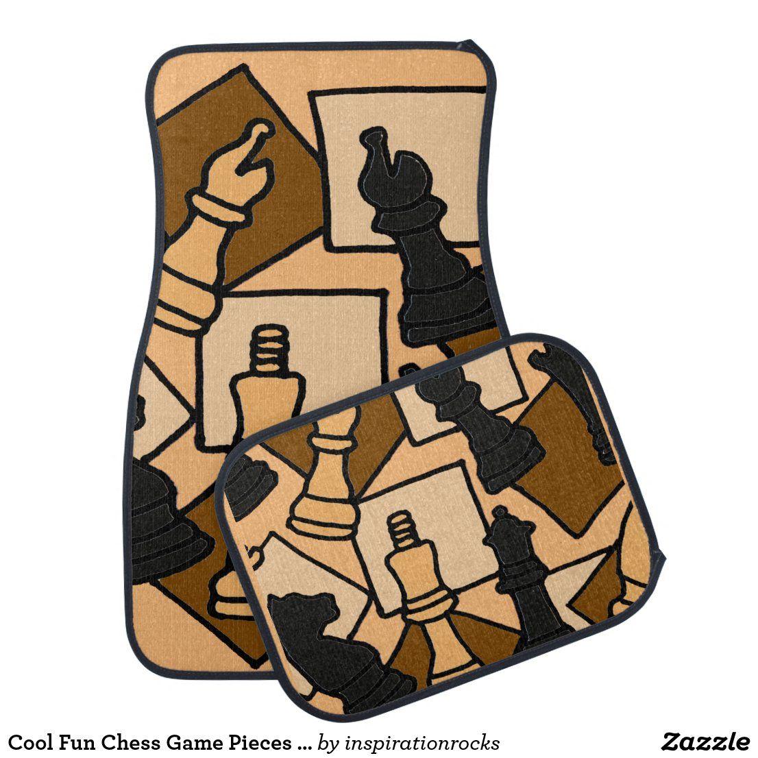 Cool Fun Chess Game Pieces Abstract Art Car Floor Mat