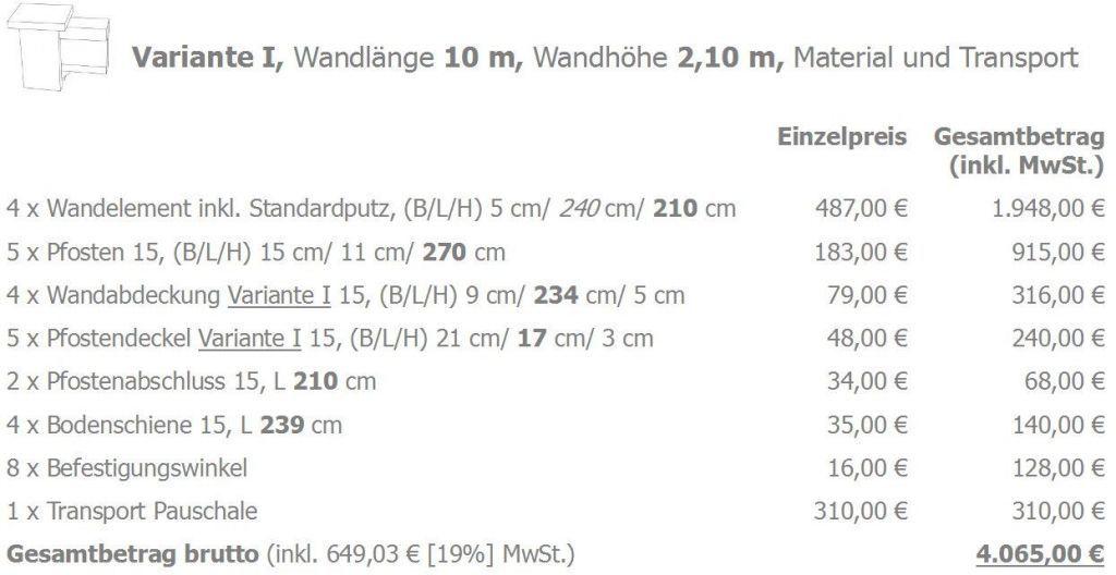 Modulare Wandsysteme Preisbeispiele Variante I Wandlänge 10 m