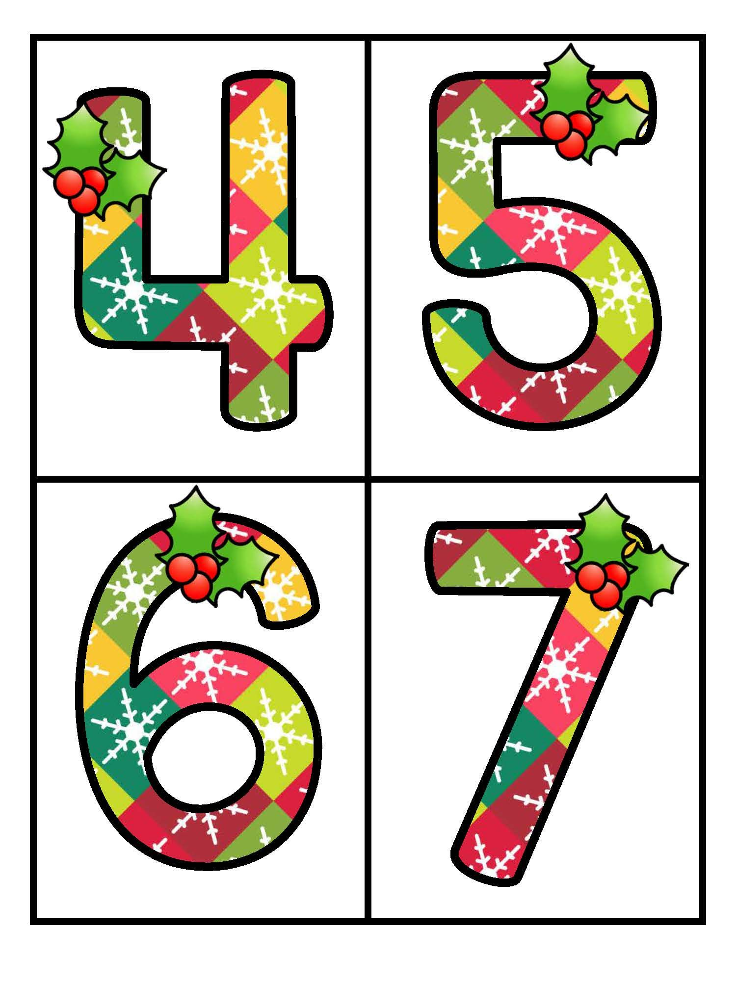 Christmas Theme Large Numbers 0 20