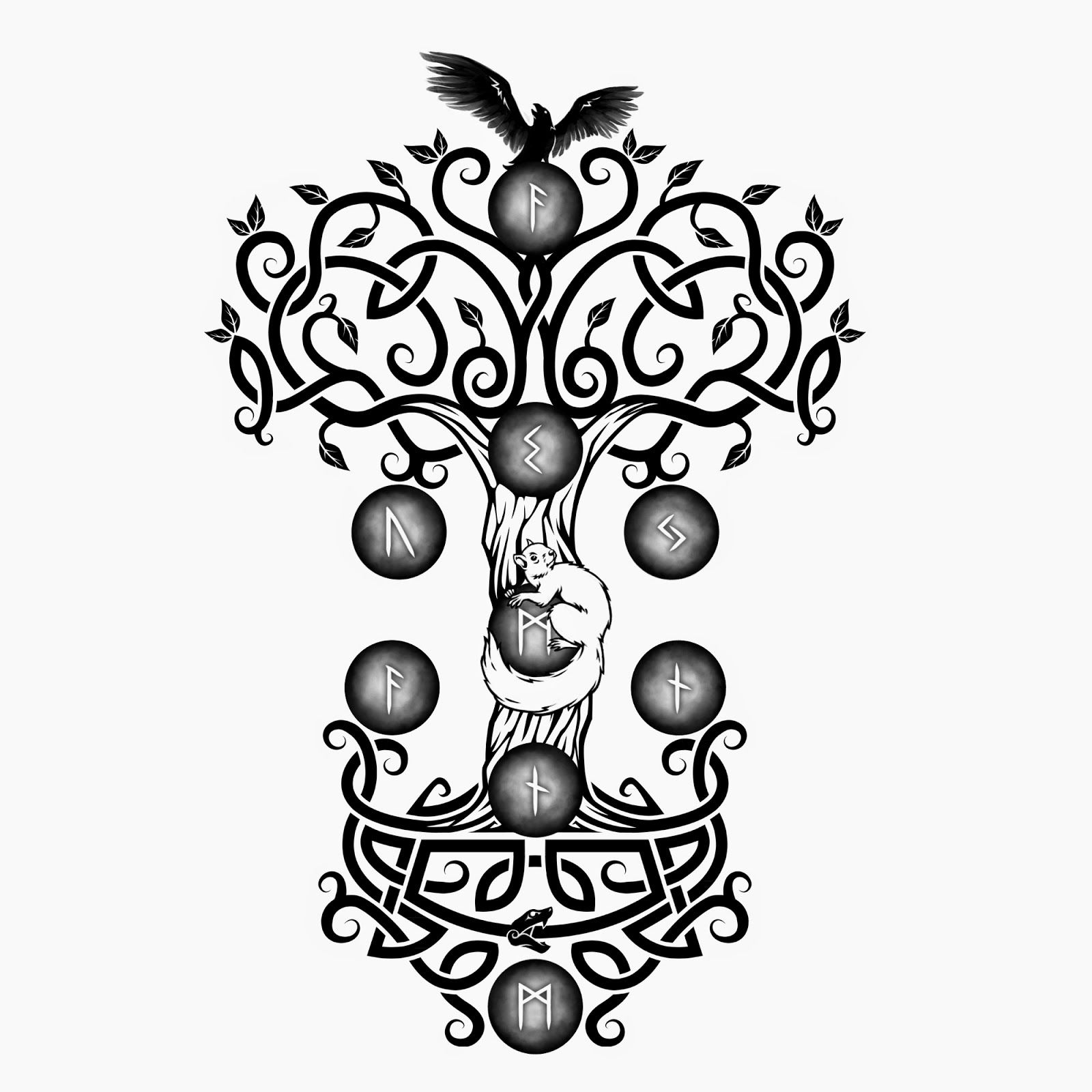Yggdrasil runes blanches jpg 1600 1600 dragon - Tatouage runes viking signification ...