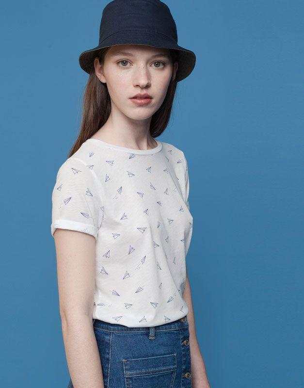 Pull&Bear - dames - t-shirts en tops - t-shirt met print - wit - 09240374-I2015