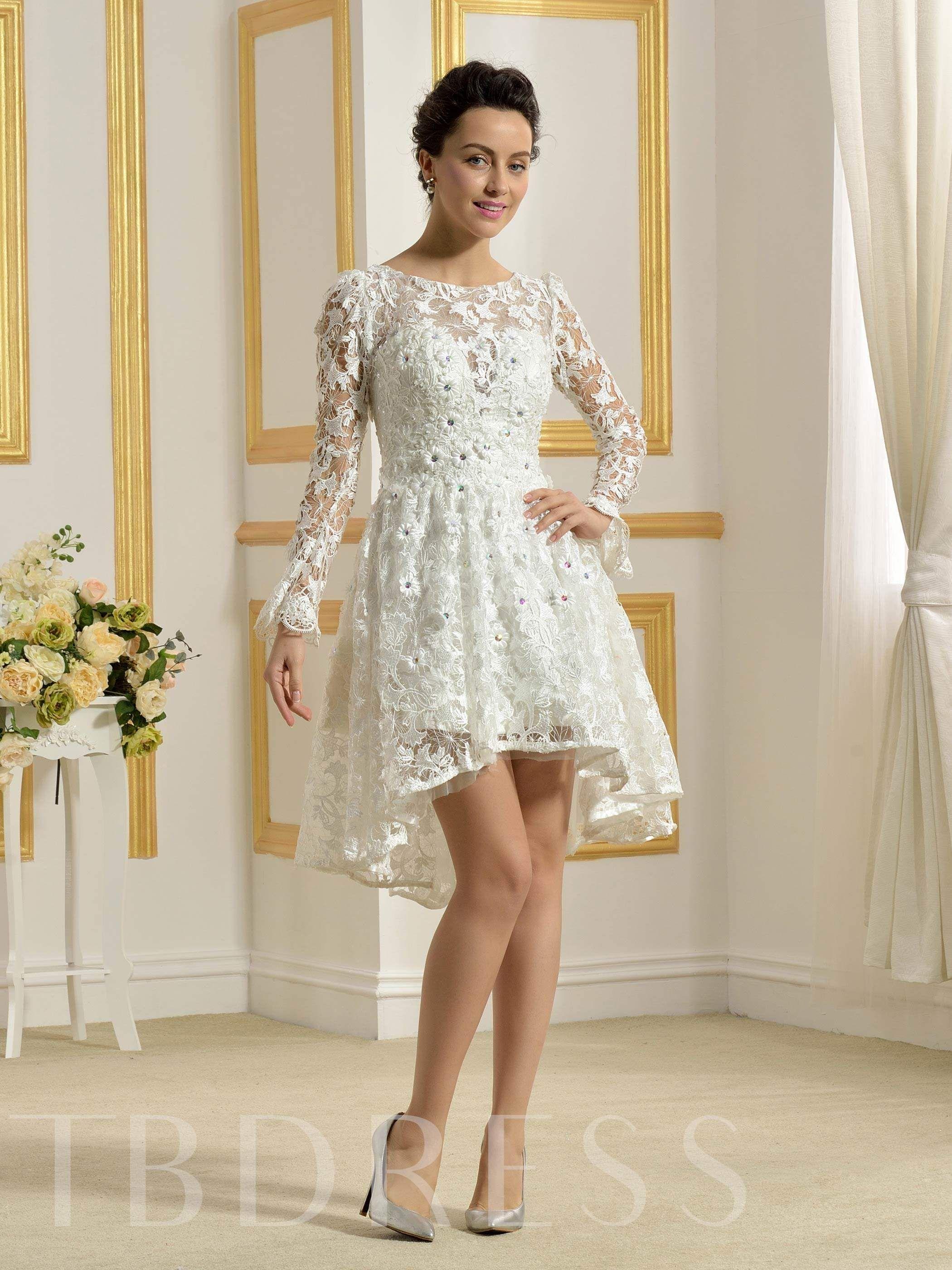 Lace Beading Long Sleeve Short Beach Wedding Dress   Long sleeve ...