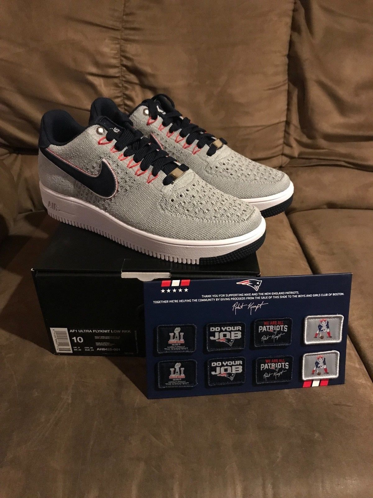 Nike Air Force One Flyknit Low 10.5 RKK New England Patriots