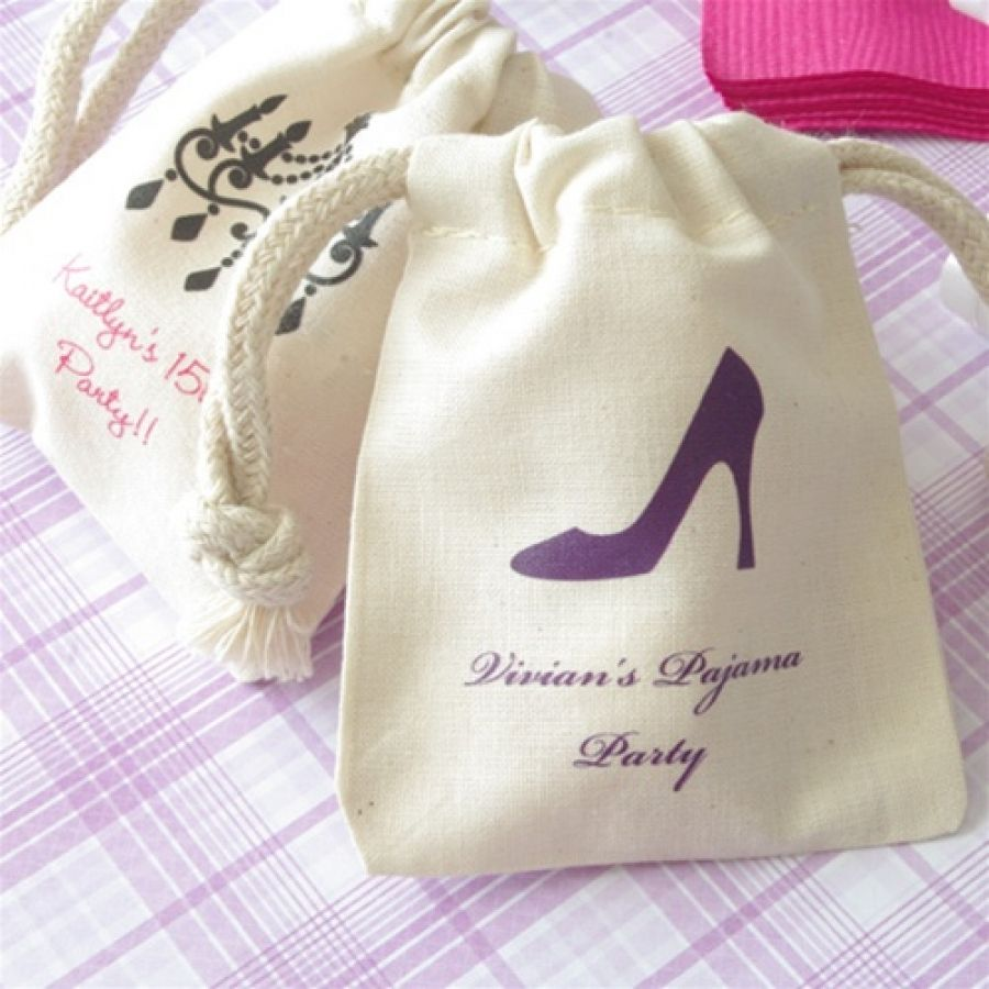 High Heel Favor Bags Cotton, Shoe Birthday Party Diva