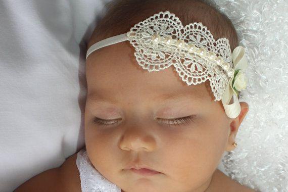 Baptism Headpiece, Ivory Headband, Lace Headband, Baby Headband, Infant Headbands, Newborn Headband, Christening Headband, Ivory Headpiece #babyheadbands