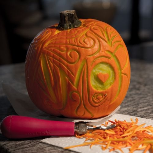 Carving with linoleum tools halloween