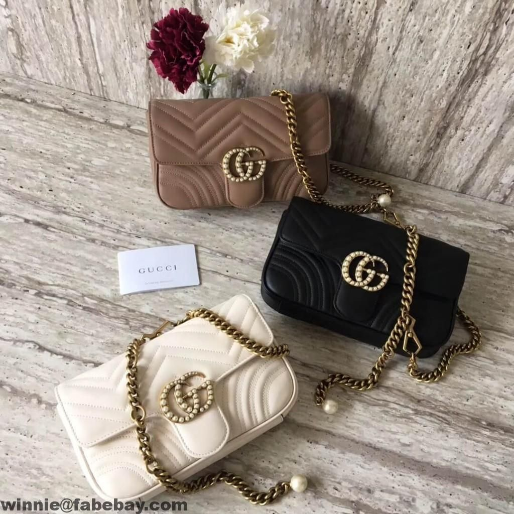0633deab8197b4 Gucci GG Marmont Chain Belt Bag With Pearls | Gucci in 2019 | Gucci ...