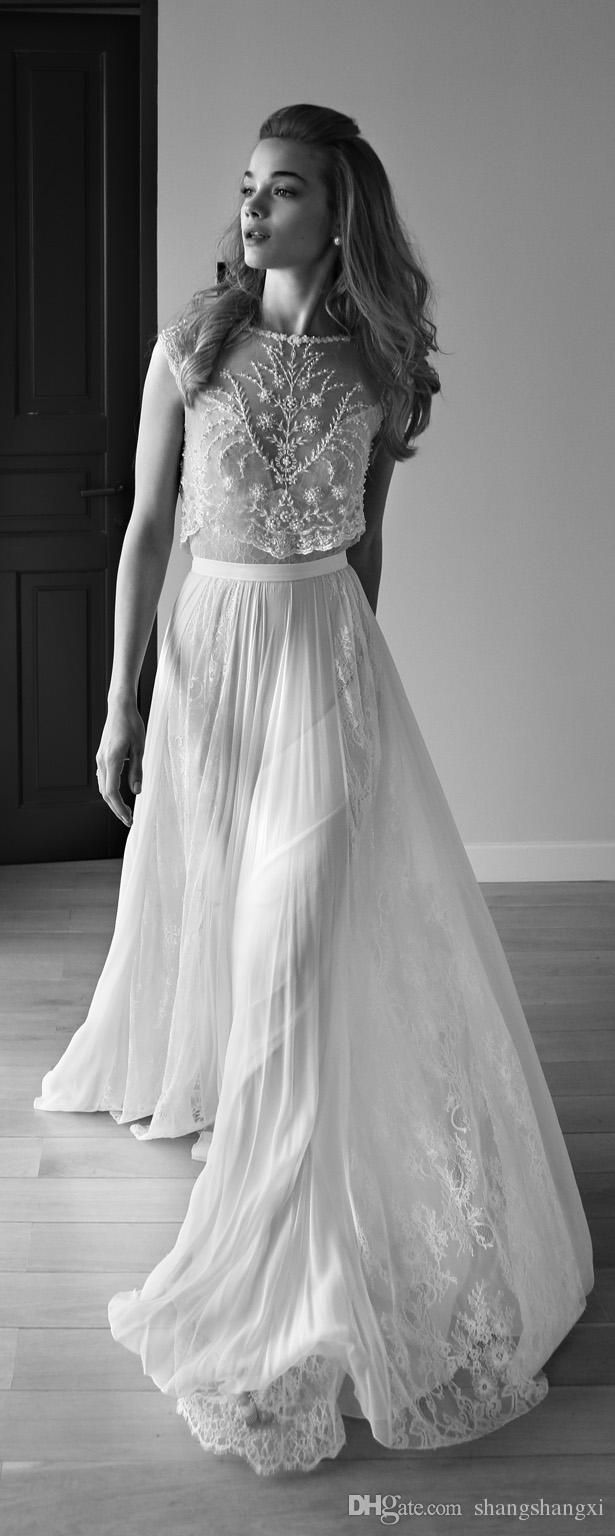 Wholesale 2015 Lihi Hod Wedding Dress Sweetheart Sleeveless Low Back Pearls Beading Sequins Lace Chiffon Beach Two Pieces Boho Bohemian Wedding Gowns, Free shipping, $146.79/Piece | DHgate Mobile