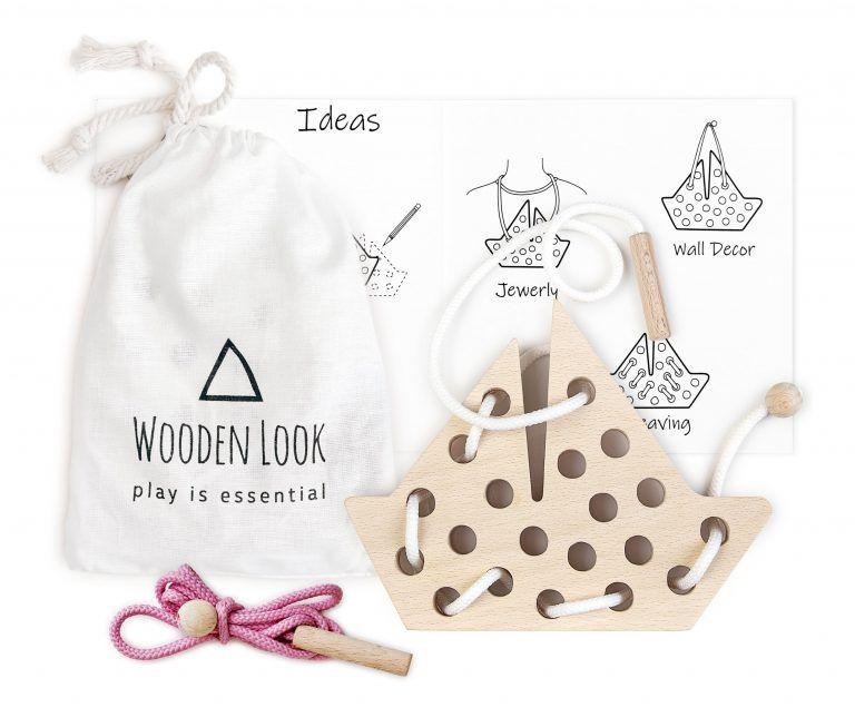 Handmade Natural Wooden Shiplet  Lacing Toy