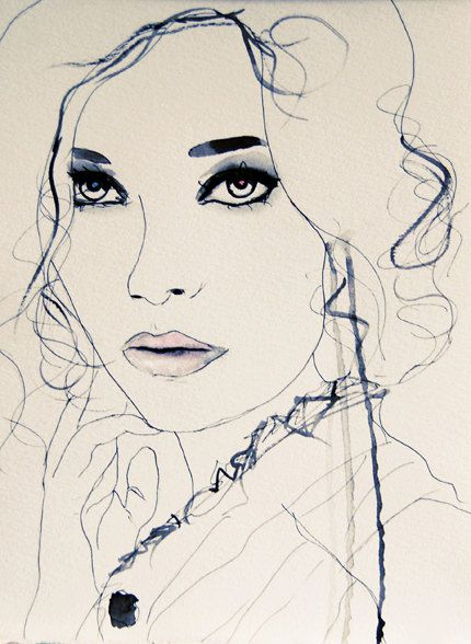 Twilight Blue  Fashion Illustration by LeighViner...(this makes me miss art class lol)