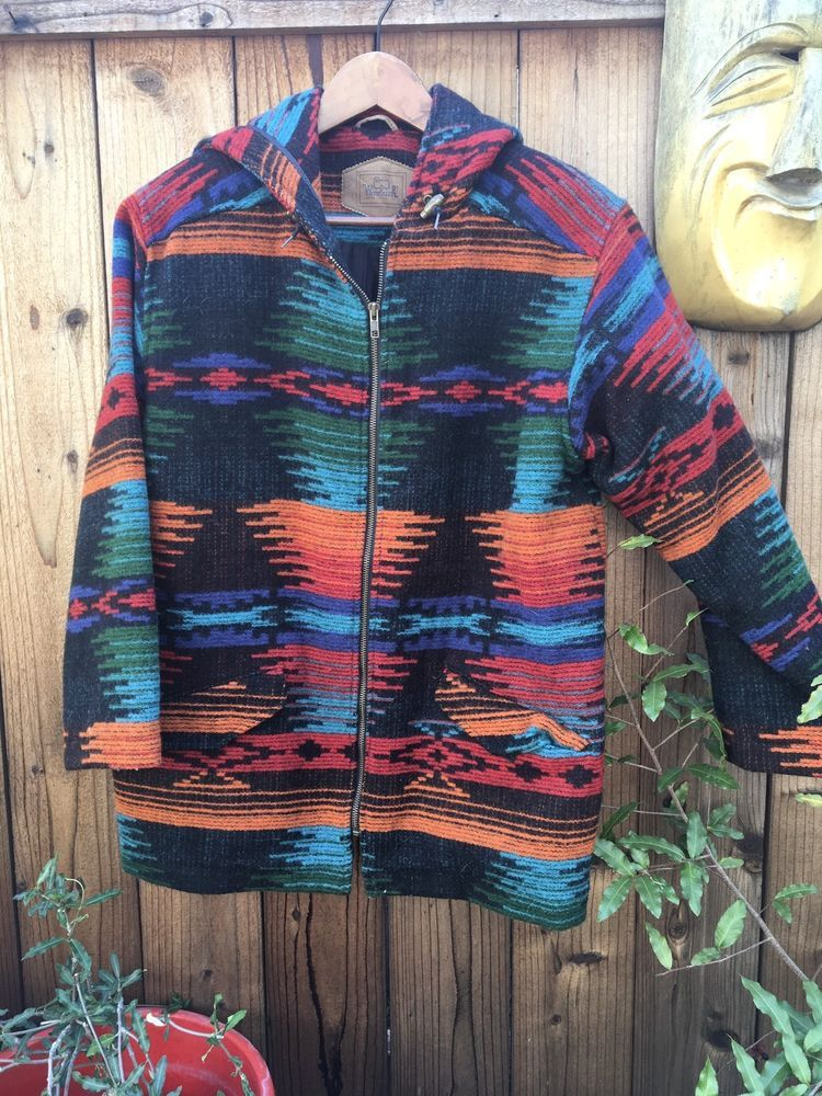 Vintage WOOLRICH Southwest Jacket Mens S Small Wool Coat