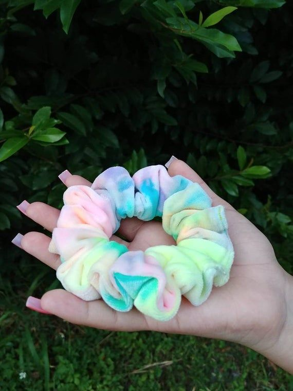 Tie dye velvet scrunchie, Hair Scrunchies, Scruchy, Ponytail Mesy Bun Scrunchie, Women Scrunchies, Dance Gymnastics Cheerleader, Hair ties