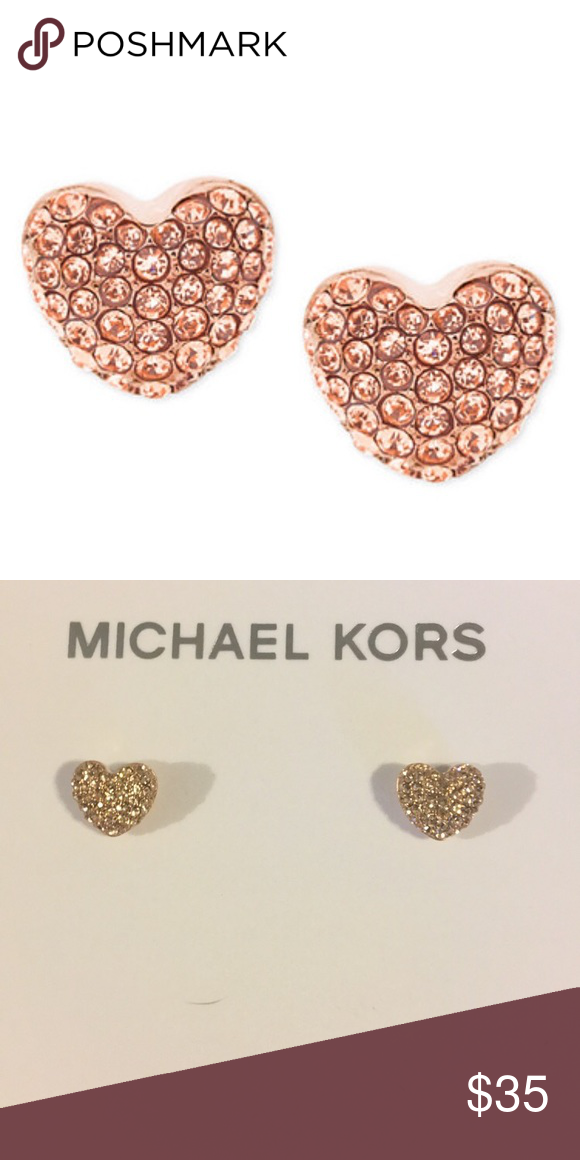 """ea8bf3c92 Michael Kors Rose gold earrings Rose gold pavé encrusted heart shape  earrings. 1/2"""" in diameter. Authentic and never been worn MICHAEL Michael  Kors Jewelry ..."""