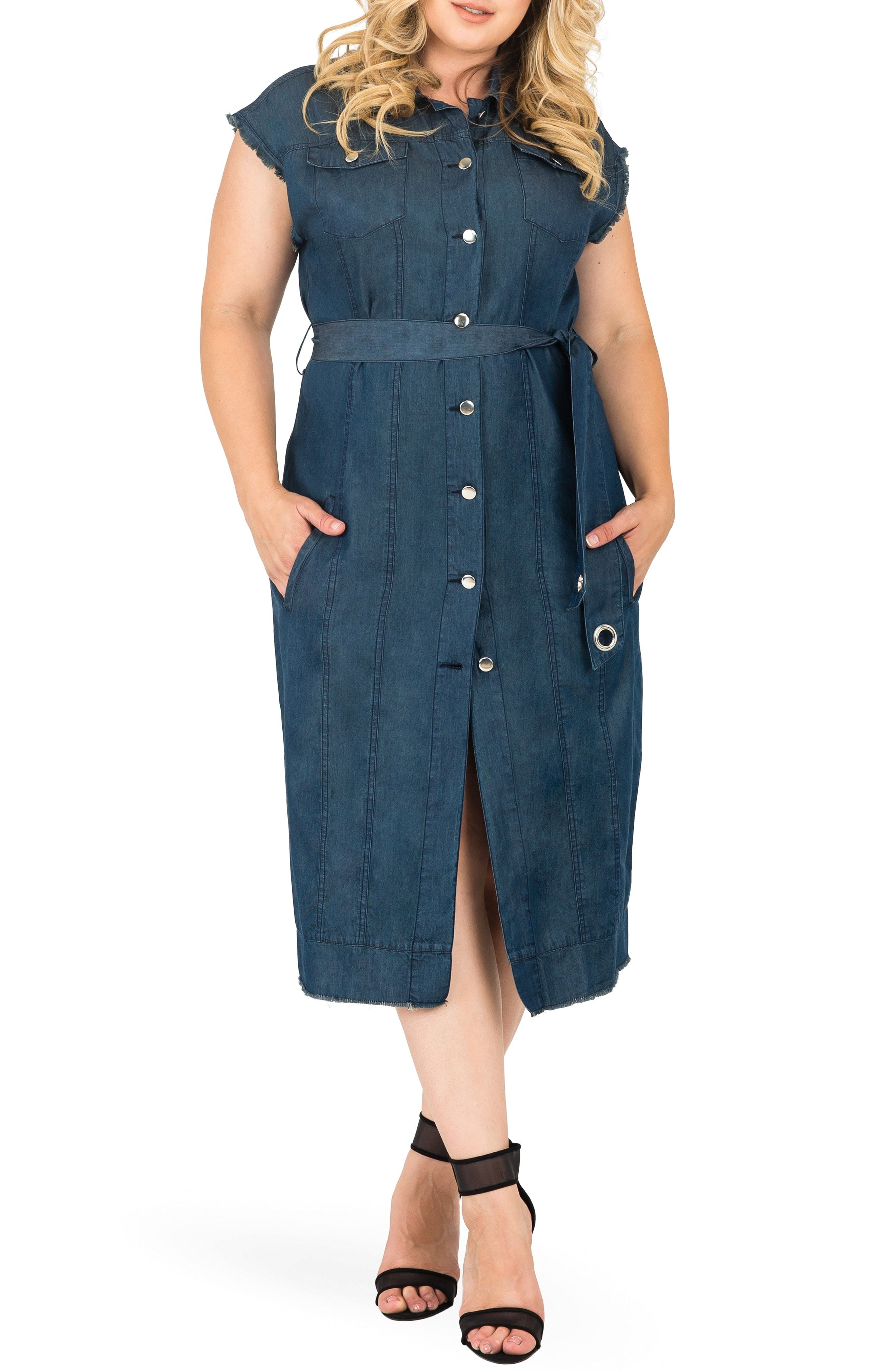 People will admire you with stylish plus size denim dress ...