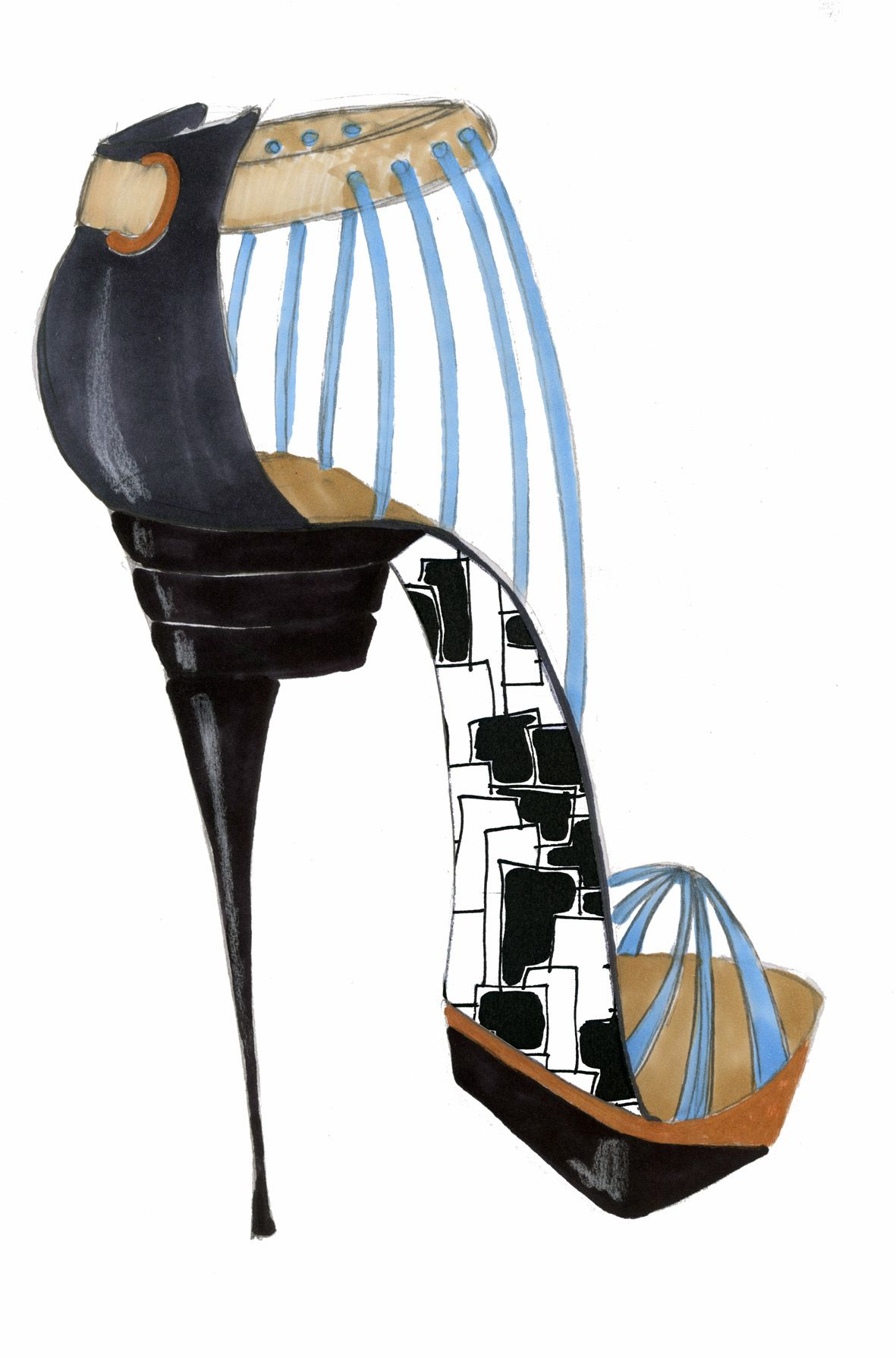 geometric high heel shoe design by selina strunck shoedesign
