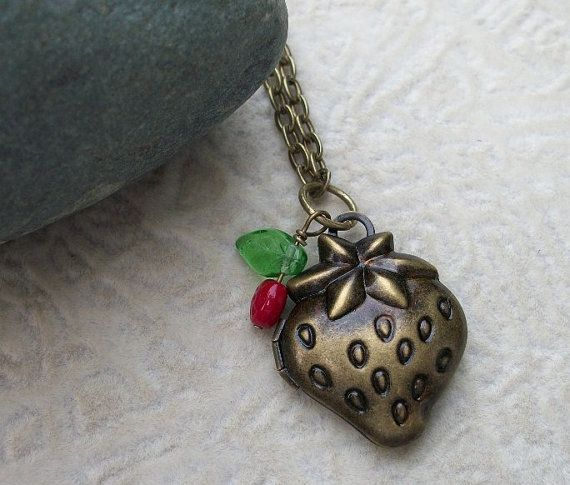 Strawberry Locket In Antique Brass by allstrungout1 on Etsy, $23.00