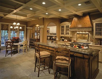 French Country House Plan DHSW41016 From Dream Home Source   Kitchen And  Breakfast Nook