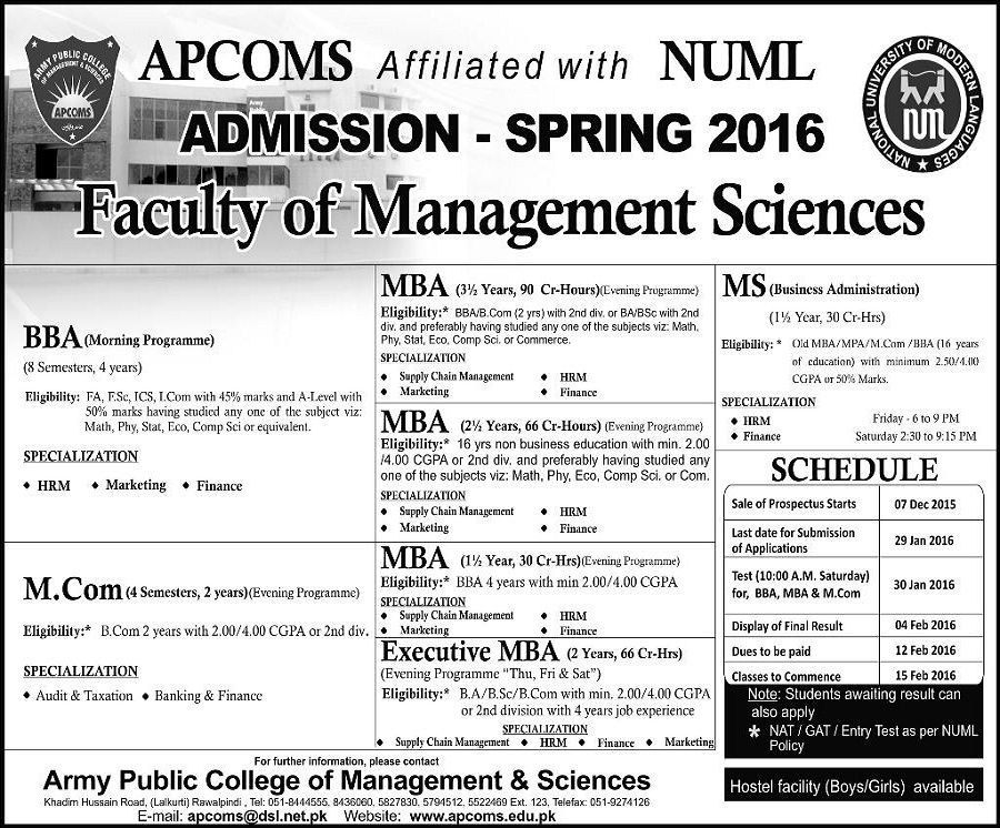 BbaMcomMba Admissions  In Army Public College Of Management