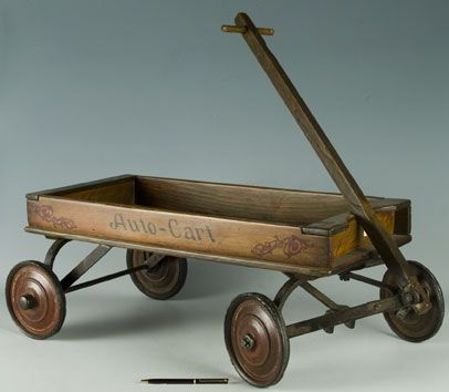 vintage wagons | Auto-Cart wooden 1920's childs wagon | MonsterMarketplace.com