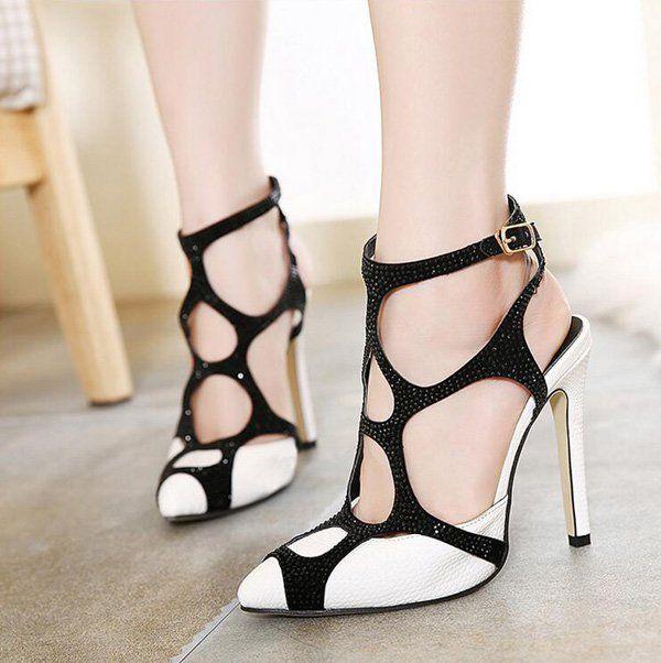 Shoes For Women Stiletto Heel Peep Toe Sandals Casual Black White