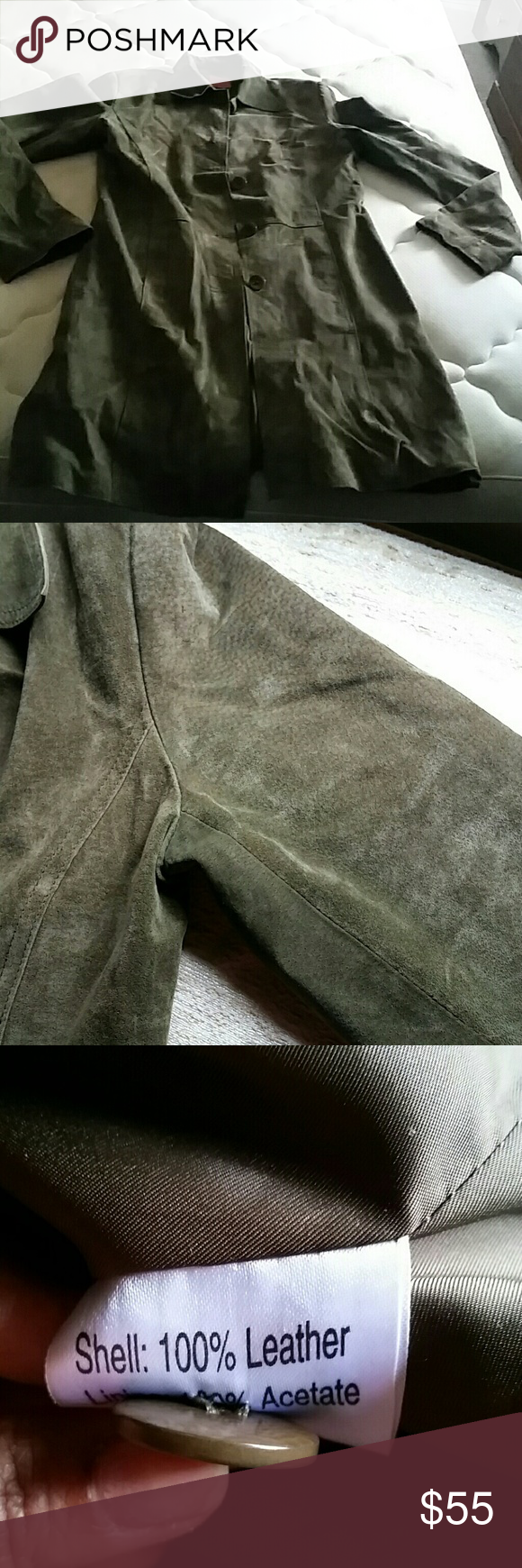 Vintage leather  trench coat You can tell its used because of ages but Still  in good condition . Jackets & Coats Trench Coats