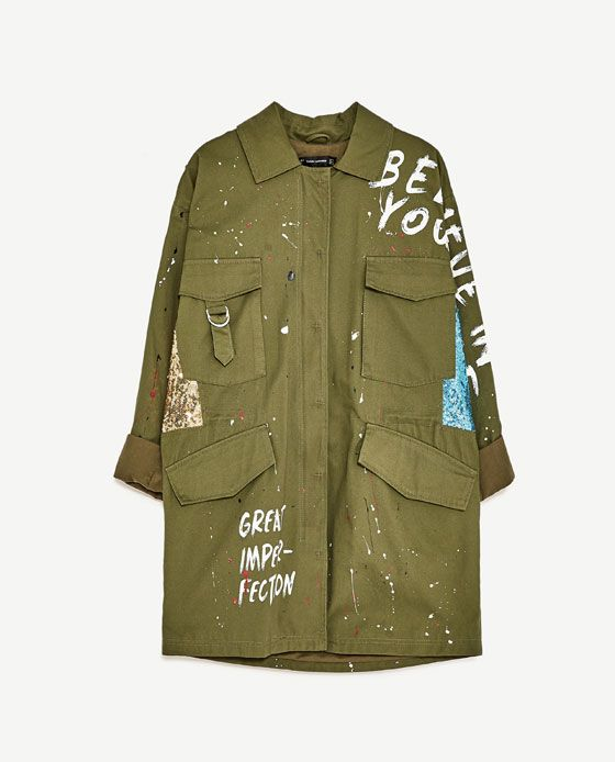 Army green denim military jacket with patches