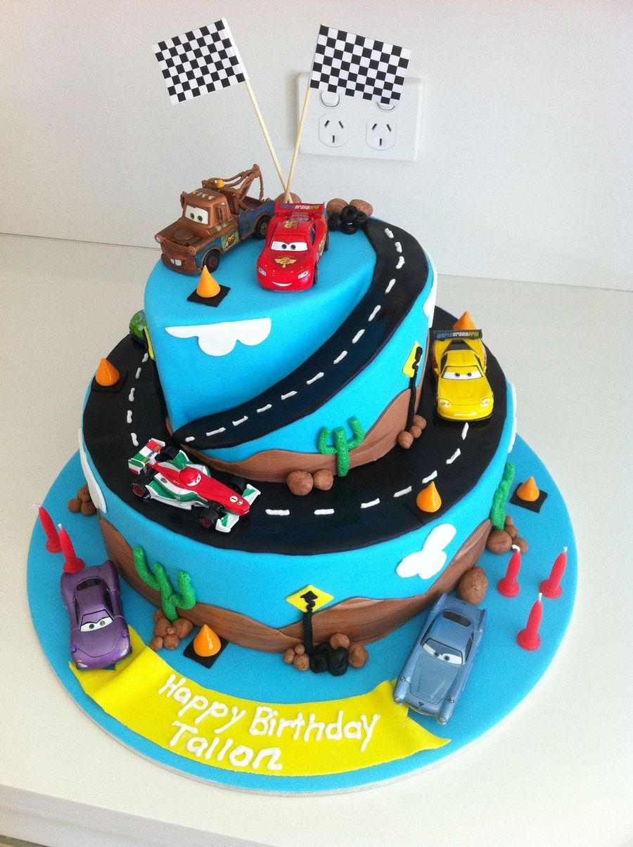 Cars 2 Birthday Cake 2 Tier Chocolate Mud Covered In Ganache And