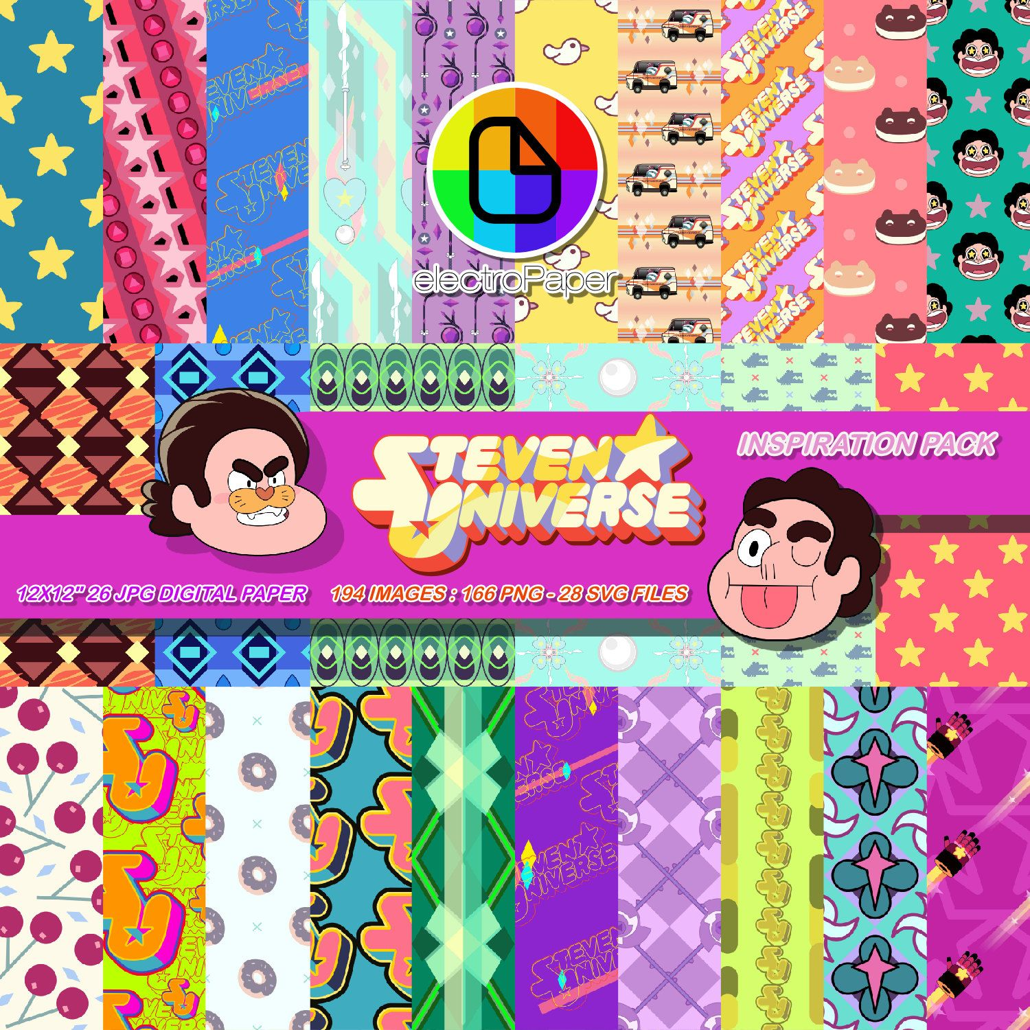 Steven Universe Inspiration Pack Digital Paper And Clipart For Scrapbooking And Party Decoration Cake And Cupcake Decorat Steven Universe Fiesta Ninos Etsy