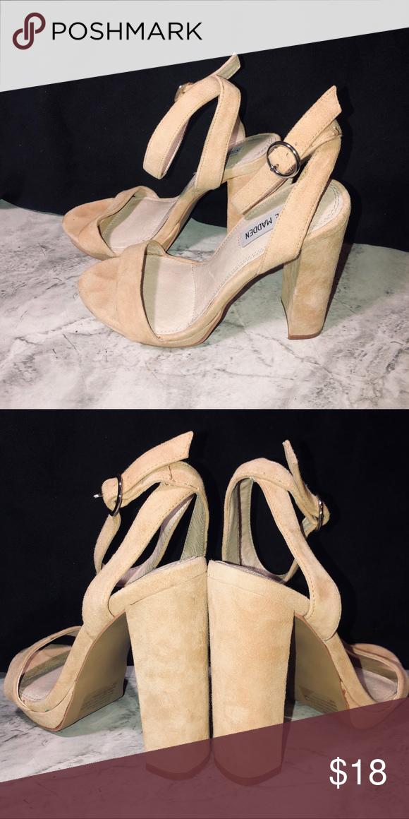 06599e127e8 Steve Madden cream colored block high heel Suede block High heels ...