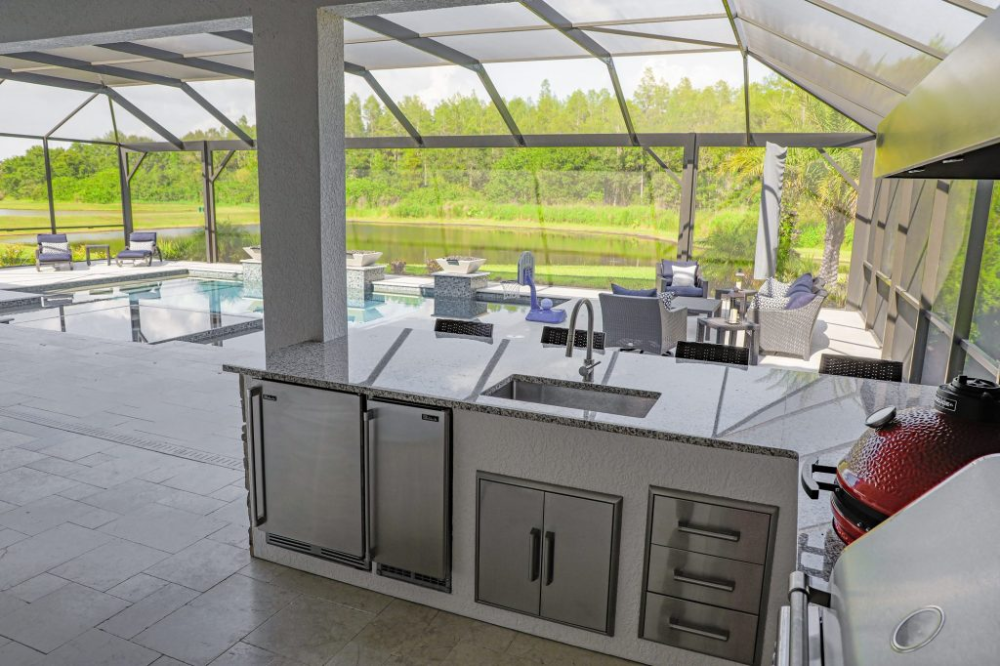 custom outdoor kitchen with vent hood in lutz just grillin outdoor living in 2020 outdoor on outdoor kitchen ventilation id=89640