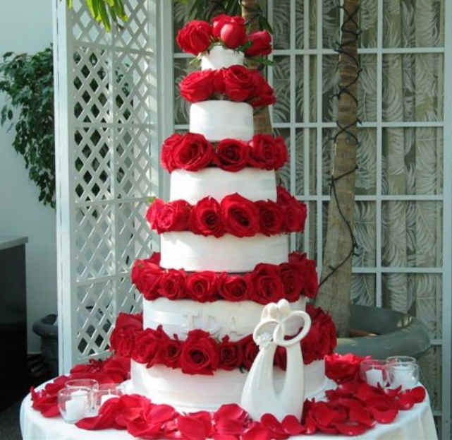 Cake Boss Wedding Cakes With Red Flowers