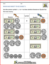 Money Math Worksheets Who Has Most To 2 Dollars 1 Money Math Worksheets Money Worksheets Money Math