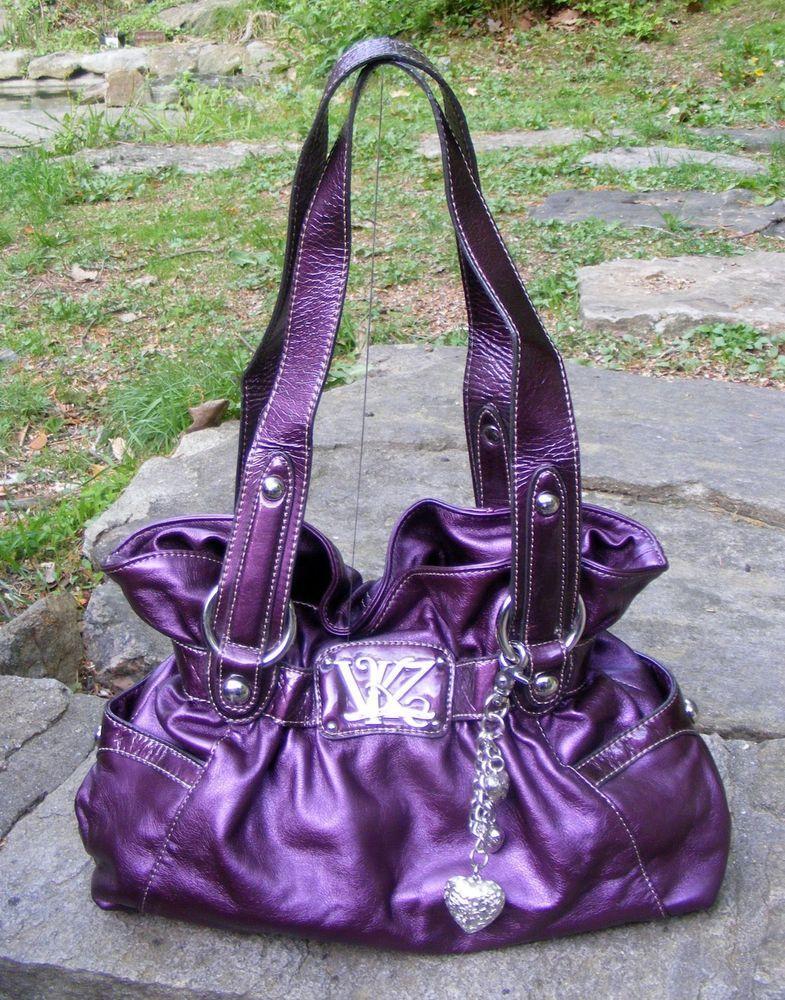 Kathy Van Zeeland Metallic Lavender Waisted Hand bag aa154468770ef