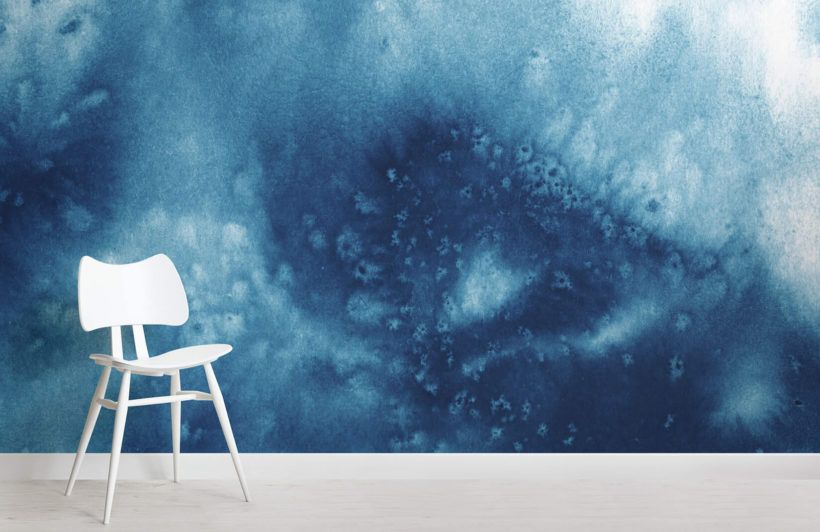 Deep Blue Waves Watercolour Wall Mural In 2020 Watercolor