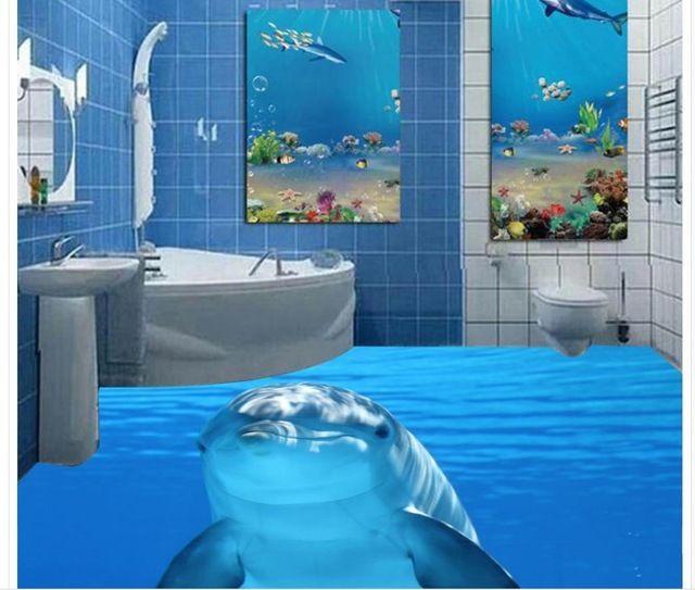 Dolphin Marine Sea Water 3d Tiles Floor Painting Wallpaper For Bathroom Waterproof Home Bedroom Decoration Floor Murals Floor Wallpaper Mural Wallpaper