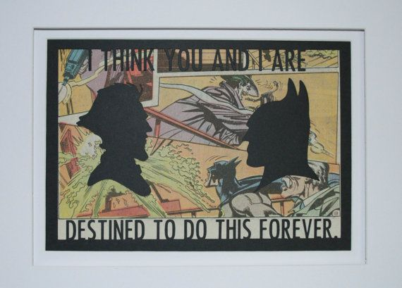 Batman & Joker 'Destined To Do This Forever'  Framed Comic Silhouette.  Vintage Comic Page.