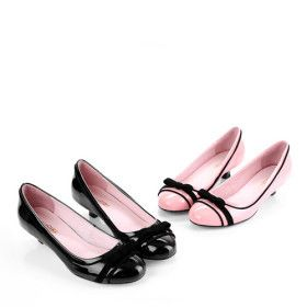 Lackleder oberen flachen geschlossenen Zehen mit bowknot Fashion-Schuh