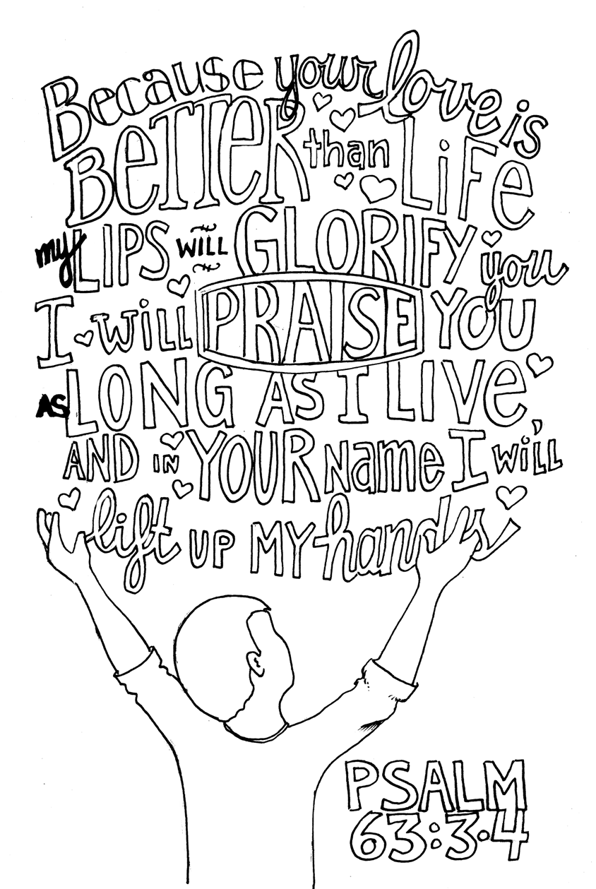 Psalm 63 BW Scripture doodle, Bible coloring pages