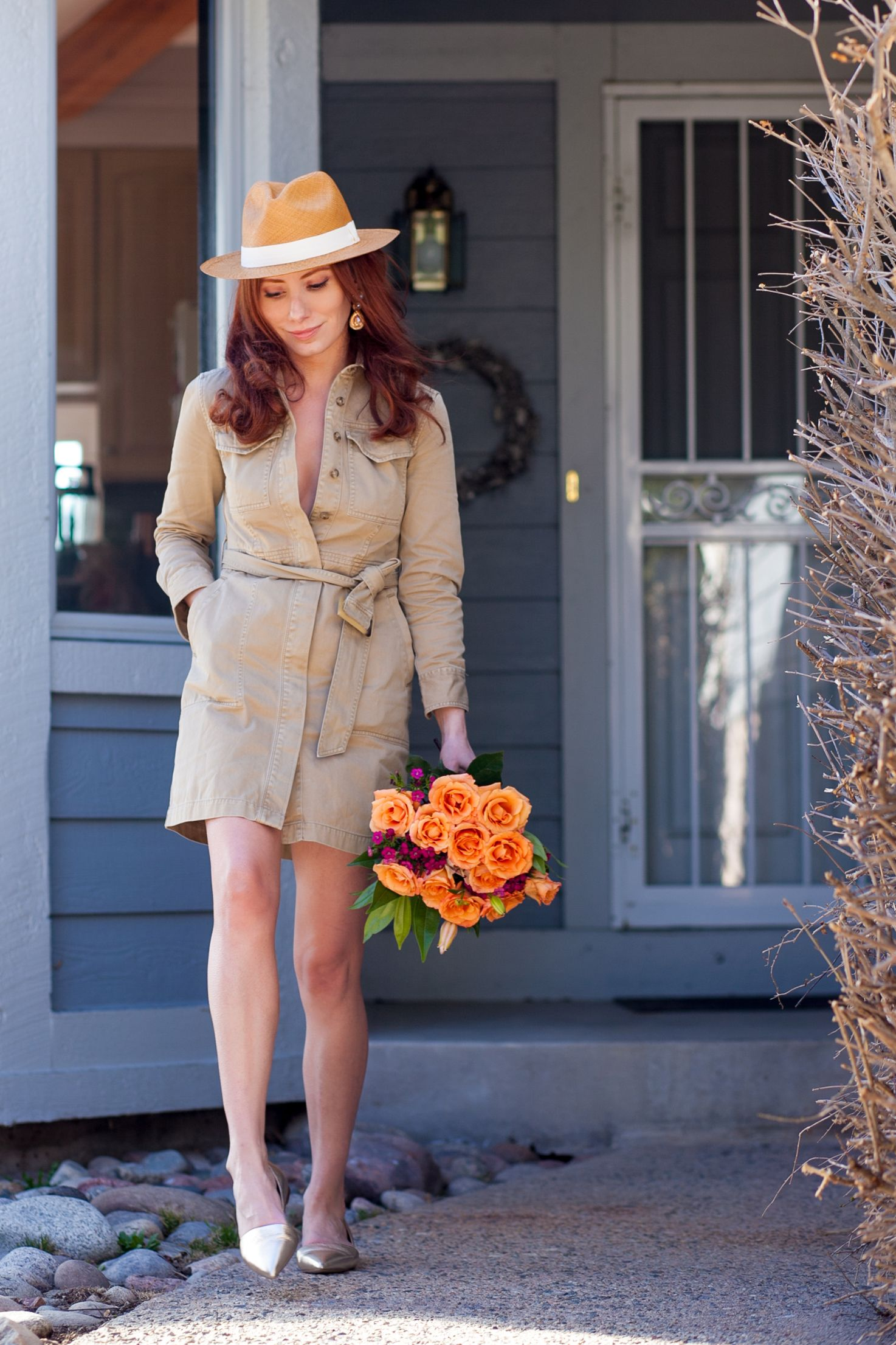 922a0179e04 J Crew Belted Chino Shirtdress + Panama Hat + Sloan Gold D Orsay Loafers   ootd  springstyle