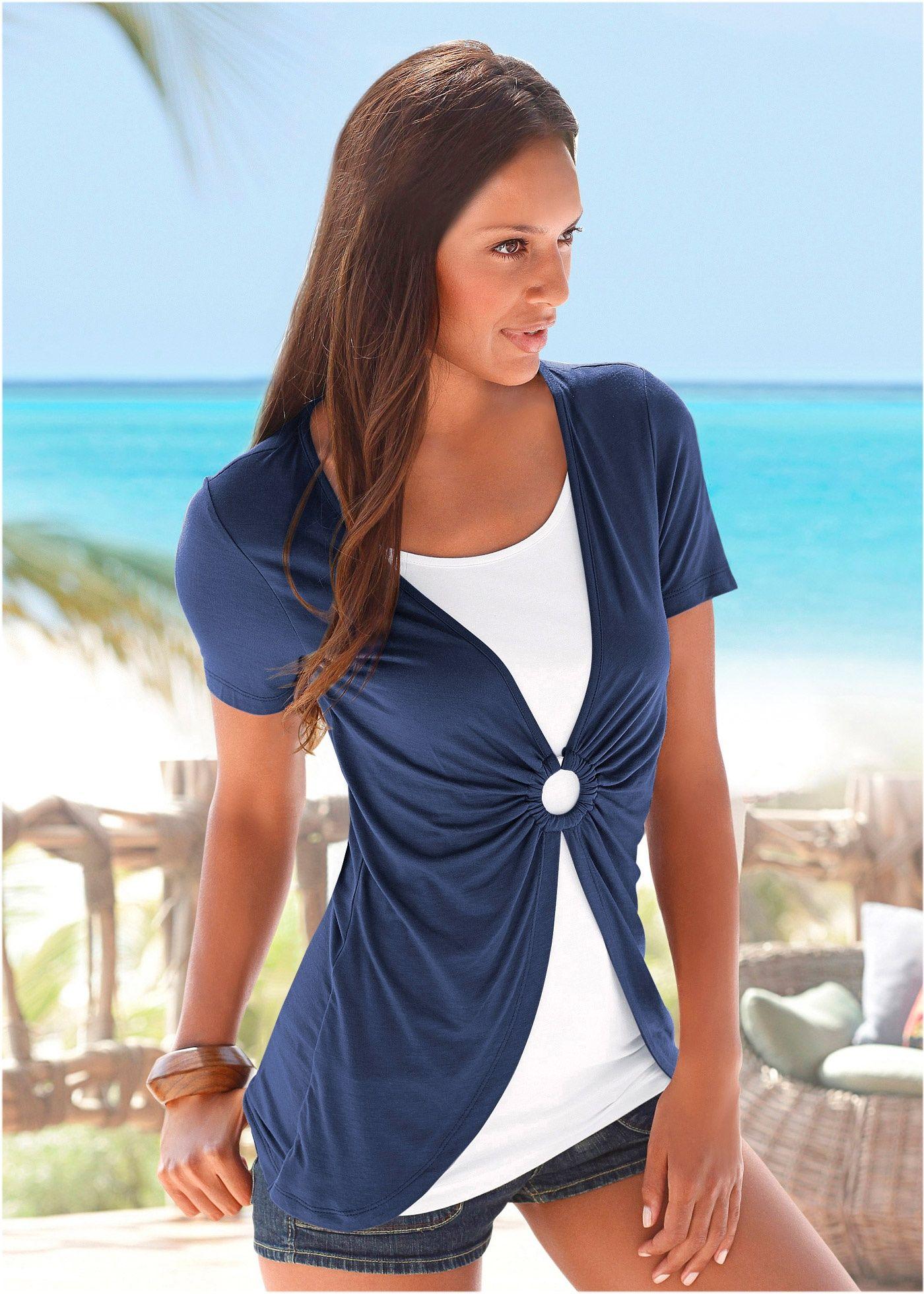 817fcb95d Roupas. Mulheres. Verão. Blusa azul marinho branco encomendar agora na loja  on-line bonprix.de R