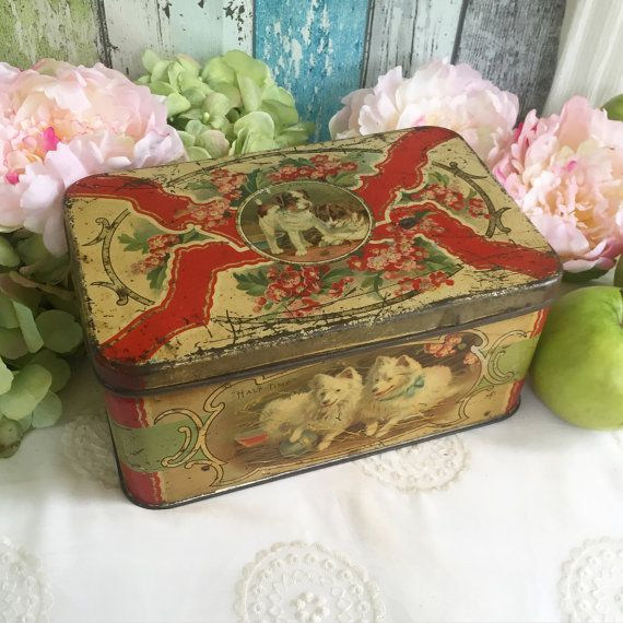 Antique Christmas Puppy Dog Biscuit Tin litho box, Puppies, red