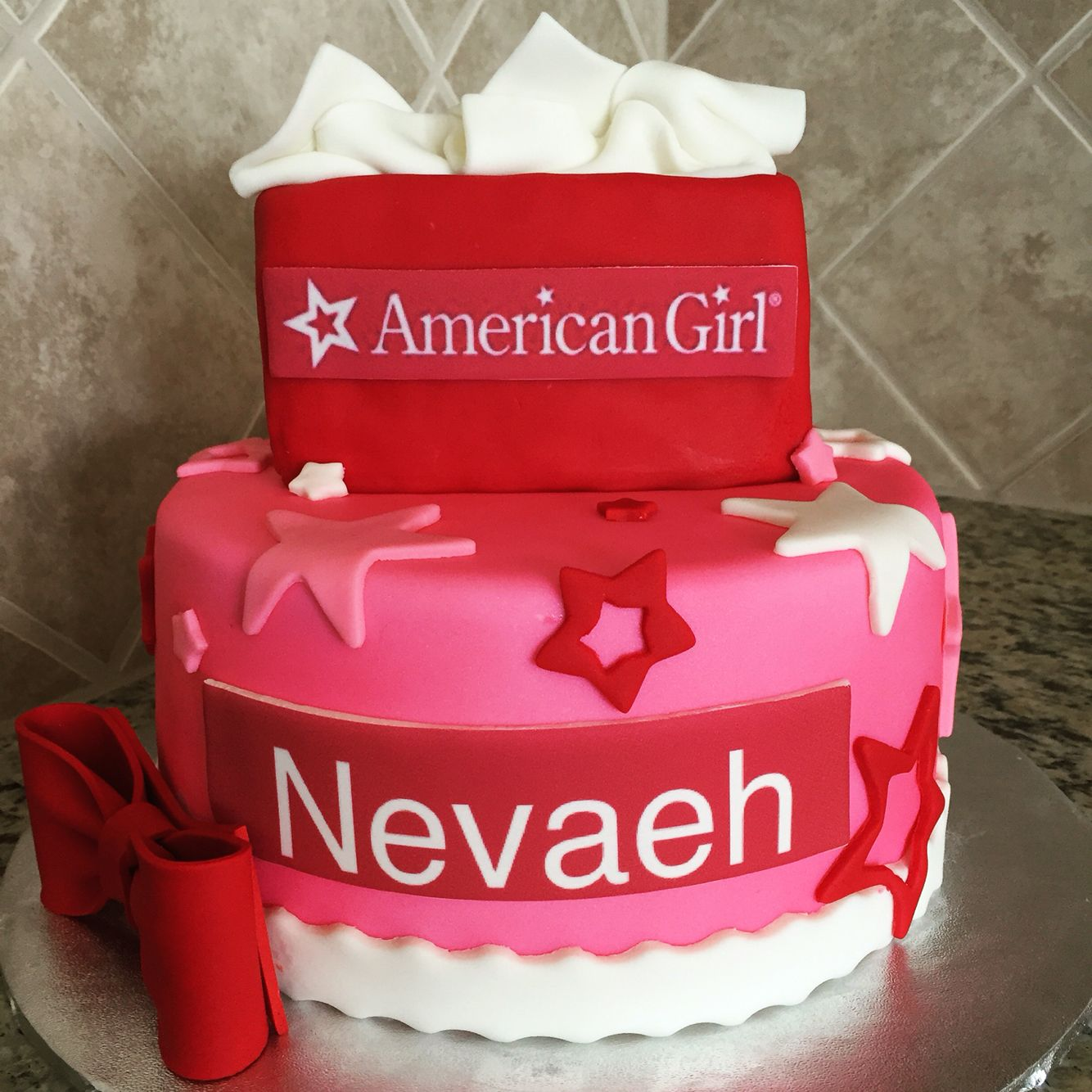 Astonishing American Girl Cake No White Border Name Plate Or Giant Bow Personalised Birthday Cards Paralily Jamesorg