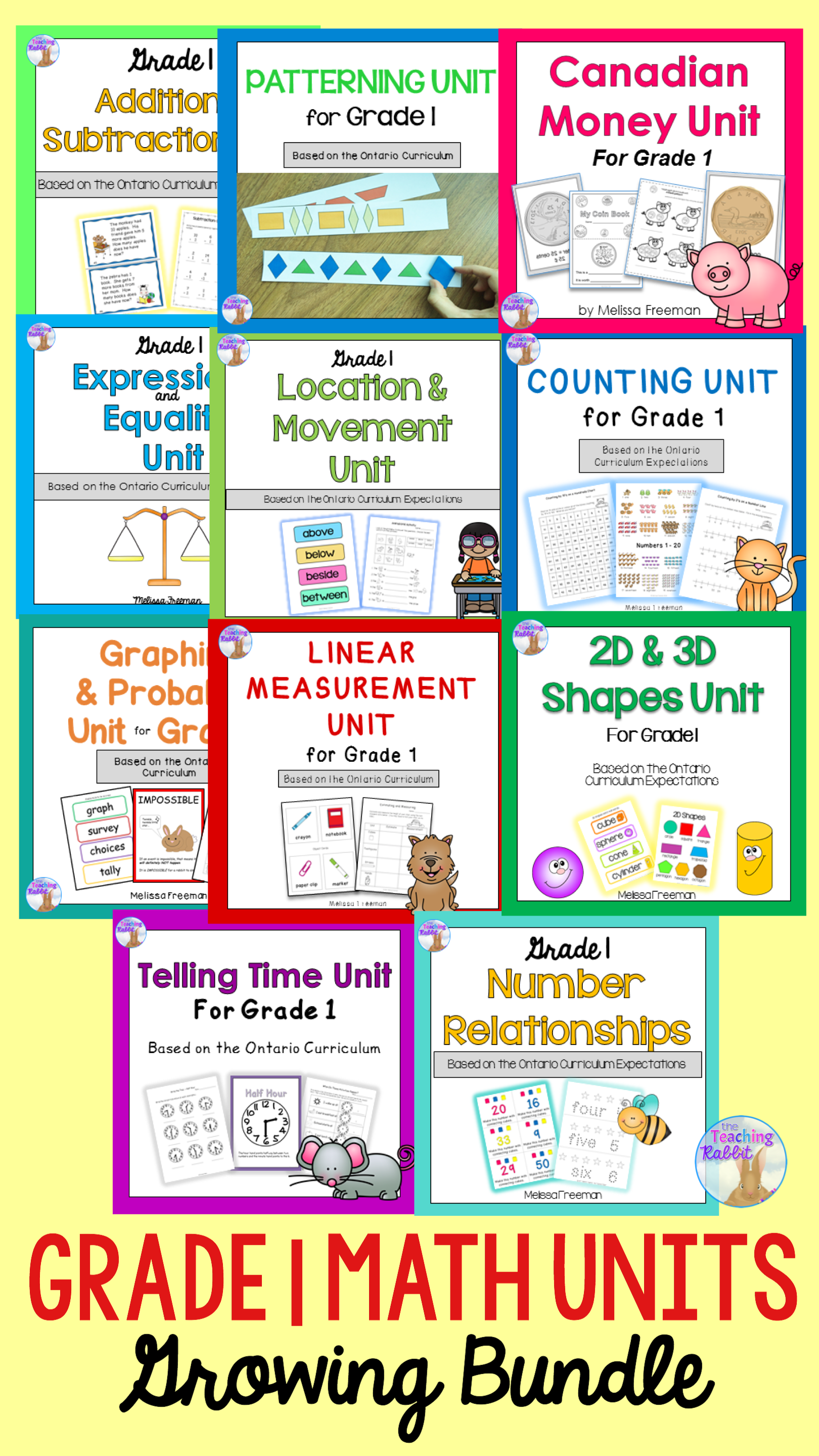 Grade 1 Math Units FULL YEAR Bundle (Based on the Ontario Curriculum ...