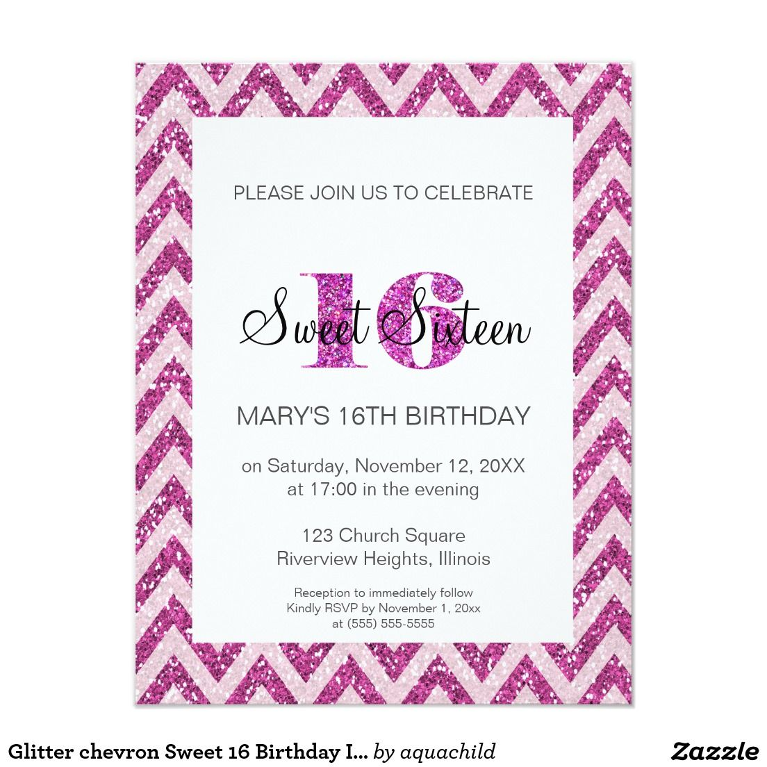 Glitter chevron sweet 16 birthday invitation glitter chevron glitter chevron sweet 16 birthday invitation stopboris Image collections