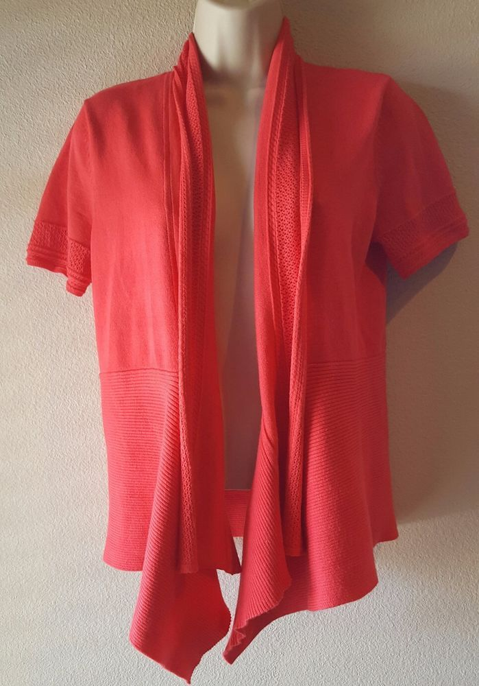 VERVE AMI Open Front Shawl Collar Pink Short Sleeve Cardigan ...